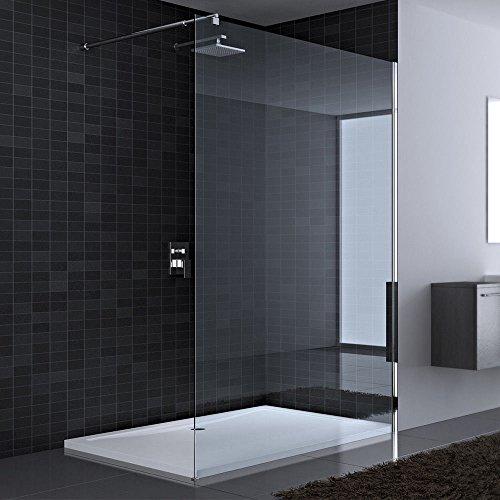 110x200 cm Luxus Duschwand aus Echtglas Bremen1K, Walk In Dusche,mit 4-eckigem Stabilisator BRAM2, 8mm ESG Sicherheitsglas Klarglas, inkl. Nanobeschichtung