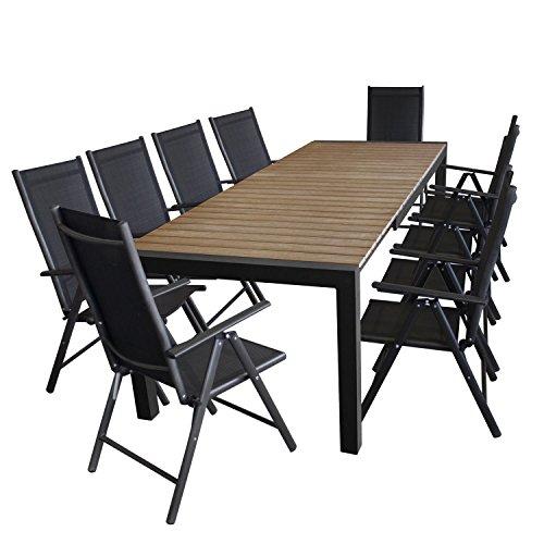 11tlg gartengarnitur gartentisch ausziehbar 205 275x100cm polywood tischplatte in braun. Black Bedroom Furniture Sets. Home Design Ideas