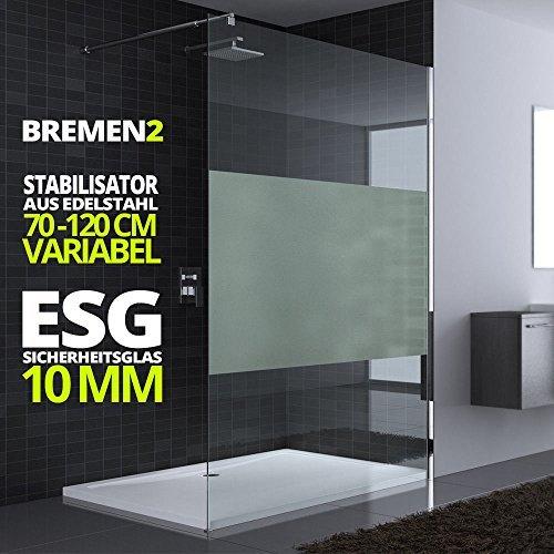 130x200cm Duschwand Echtglas Bremen2MS Stabilisator 10mm ESG Sicherheitsglas Milchglas-Streifen inkl Nanobeschichtung