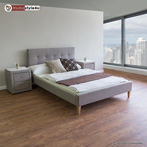 Homestyle4u 1733 Polsterbett 160 x 200 Doppelbett Stoffbett Bettgestell mit Rückenlehne & Lattenrost Bett Grau