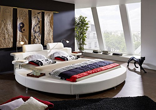 SAM® Design Rundbett Carlos, Polsterbett in weiß, 180 x 200 cm, inkl. Beleuchtung und Nachttischablagen, Designer-Bett mit Kopfstütze & Kunstlederbezug