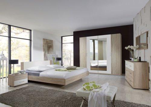 3-tlg. Schlafzimmer in Eiche sägerau-Nachb. mit Abs. in alpinweiß, Kleiderschrank Breite: 225 cm, Futonbett 180 x 200 cm, 2 Nachtschränke