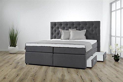 Breckle Boxspringbett 120 x 200 cm Lerche Box mit Stauraum 500 Hollanda 1000 Gel Topper Gel Comfort