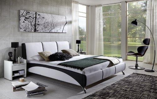 SAM Polsterbett 160x200 cm Funchal, weiß/schwarz, Rückenlehne inkl. Soundsystem, Bett aus Kunstleder, stilvolle Chromfüße, als Wasserbett geeignet