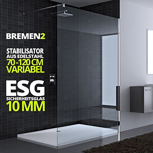 60x200 cm Luxus Duschwand aus Echtglas Bremen2K, Stabilisator rechteckig, 10mm ESG Sicherheitsglas klarglas, inkl. Nanobeschichtung