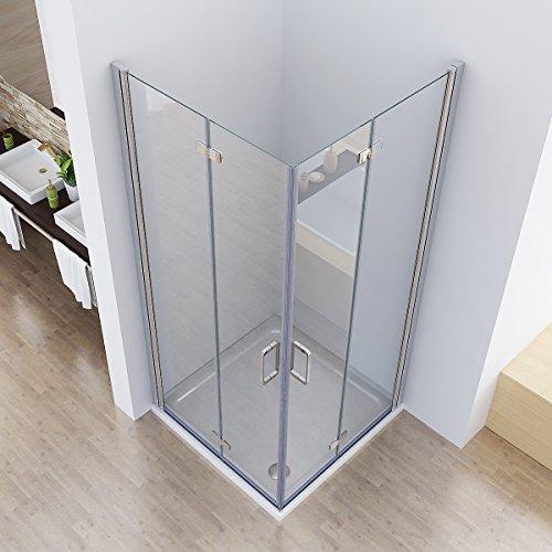 75 x 75 x 197 cm Duschkabine Eckeinstieg Dusche Falttür 180º Duschwand Duschabtrennung NANO Glas