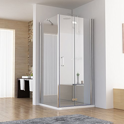 90 x 75 x 197 cm Duschkabine Eckeinstieg Dusche Falttür Duschwand mit Seitenwand NANO