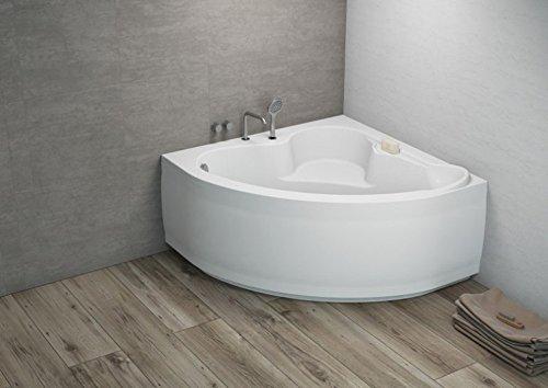 ALB Komfortable Eck Badewanne-Acryl 120x120x57,5 inkl. Wannenfuß und Ablaufgarnitur