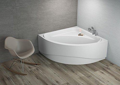 ALB Komfortable Eck Badewanne-Acryl 140x140x580 inkl. Wannenfuß und Ablaufgarnitur