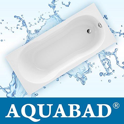AQUABAD® Badewanne PRIMO, Acrylwanne Weiss Set inkl. Träger und Ablauf