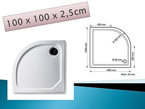 Acryl Duschwanne 100 x 100 cm superflach Viertelkreis Radius 55, weiß Dusche / Duschtasse / Brausewanne