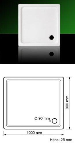 Acryl Duschwanne Duschtasse Eck 100 x 90 SUPERFLACH mit Träger und Ablauf