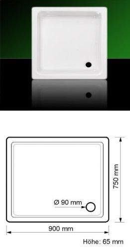 Acryl Duschwanne Duschtasse Eck 90 x 75 mit Träger und Ablauf