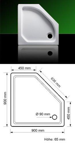 Acryl Duschwanne Duschtasse Fünfeck 90 x 90 mit Träger und Ablauf