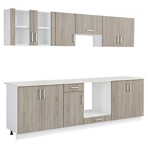 Anself Küchenzeile Küchenblock Einbauküche ohne Elektrogeräte 8-teilig