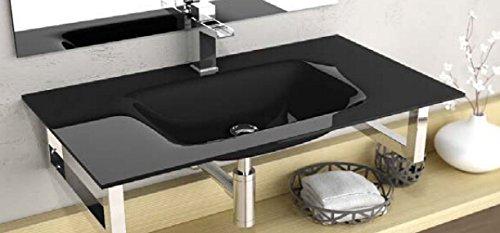 Art of Baan® - Design Glas Aufsatz Waschbecken besondere Beschichtung 610x460x140mm in schwarz (Cristal Float)