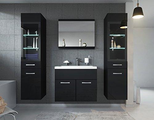 Badezimmer Badmöbel Rio XL LED 60 cm Waschbecken Hochglanz Schwarz Fronten - Unterschrank 2x Hochschrank Waschtisch Möbel