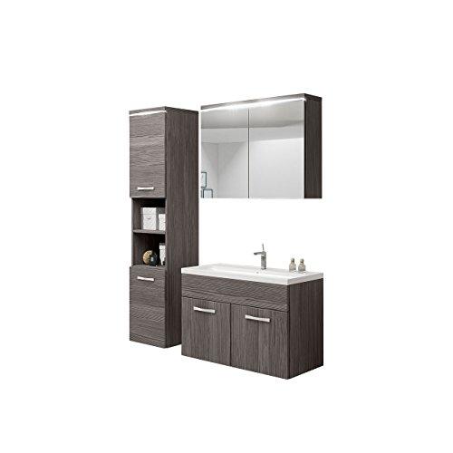Badmöbel Set Paso mit Waschbecken und Siphon, Modernes Badezimmer, Komplett, Spiegelschrank, Waschtisch, Hochschrank, Hängeschrank Möbel