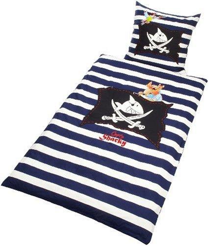 Bettwäsche Capt'n Sharky, blau/weiß (135x200/80x80cm)