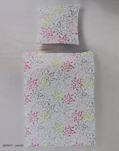 Bierbaum Bettwäsche Set Renforce 100%Baumwolle 155 x 220 Weiß Rosa Grau 2 TEILIG