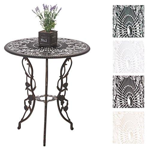 CLP Alu-Guss Tisch GANESHA, Gartentisch rund ca. Ø 66 cm, Höhe 67 cm, Design nostalgisch antik Bronze