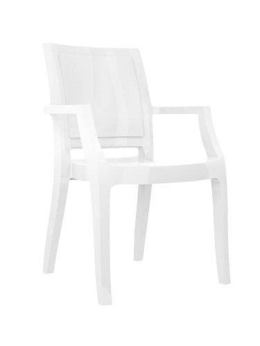 CLP Design Bistrostuhl/Gartenstuhl ARTHUR, XXL Stapel-Stuhl 160 kg max. Belastbarkeit, wasserabweisend, UV-beständig, ideal für Balkon + Terrasse weiß glänzend