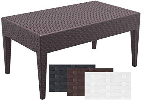 CLP Design-Gartentisch MIAMI aus Polyrattan | Beistelltisch aus hochwertigem Kunststoffgeflecht | Stapelbarer Tisch in Rattan-Optik mit einer Höhe von: 45 cm | In verschiedenen Farben und Größen erhältlich Braun, 90 x 50 cm