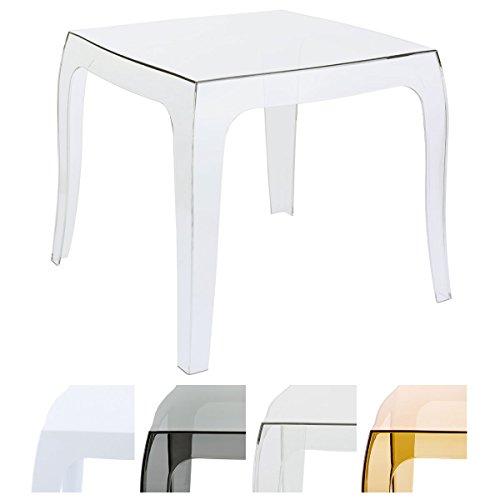 CLP Design-Kunststofftisch QUEEN | Pflegeleichter eckiger Beistelltisch | Wetterbeständiger Outdoor-Tisch | In verschiedenen Farben erhältlich transparent