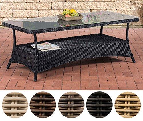 CLP Design Outdoor Lounge-Tisch PANDORA, Höhe 60 cm, Glas Tischplatte, 5 mm Rattan Geflecht, ALU Gestell, mit Stauraum, Ablage unter der Tischplatte Schwarz, 160 x 80 cm