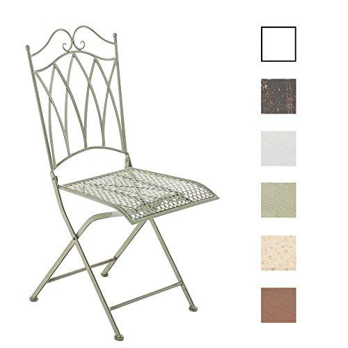 CLP Eisen-Klappstuhl LUNIS im nostalgischen Design | Klappbarer Gartenstuhl mit edlen Verzierungen | In verschiedenen Farben erhältlich Antik Grün