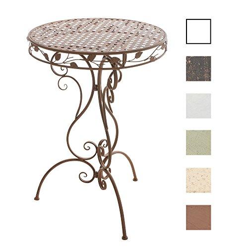 CLP Eisen-Stehtisch ALDORA in nostalgischem Design | Gartentisch mit geschwungenen Beinen | In verschiedenen Farben erhältlich Antik Braun