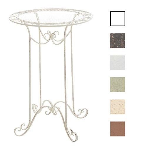 CLP Eisen-Stehtisch THALIA in nostalgischem Design | Gartentisch mit geschwungenen Beinen | In verschiedenen Farben erhältlich Antik Creme