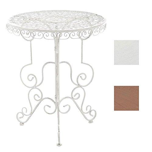 CLP Eisen-Tisch MINORE rund Ø 62 cm, Höhe 72 cm, nostalgisches Design Antik Weiß