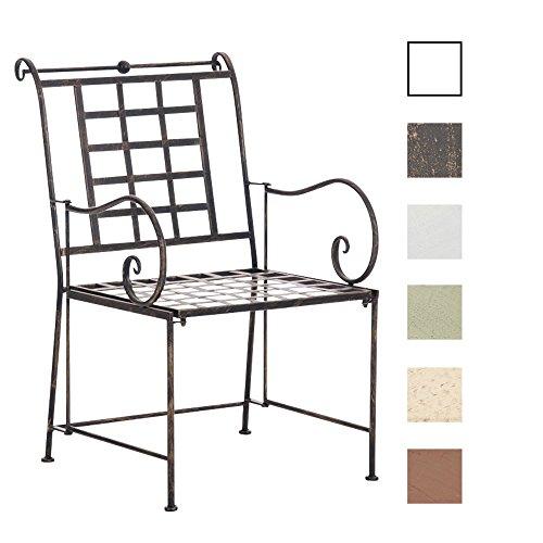 CLP Eisenstuhl HELEN im Jugendstil | Metallstuhl mit gesschwungenen Armlehnen | Antiker handgefertigter Gartenstuhl aus Metall | In verschiedenen Farben erhältlich Bronze