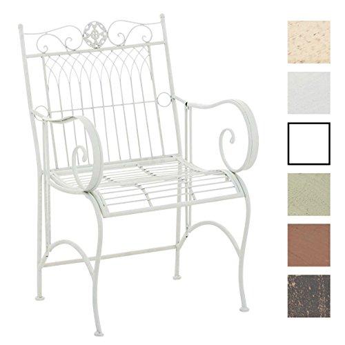CLP Eisenstuhl PURUSHA mit Armlehnen | Gartenstuhl mit edlen Verzierungen im Landhausstil | In verschiedenen Farben erhältlich Weiß