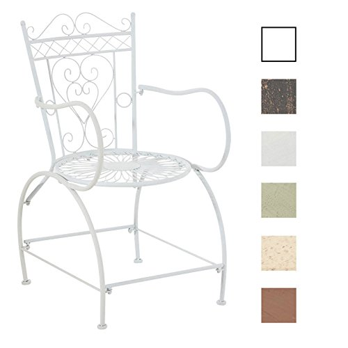 CLP Eisenstuhl SHEELA im Jugendstil | Metallstuhl mit gesschwungenen Armlehnen | Antiker handgefertigter Gartenstuhl aus Metall | In verschiedenen Farben erhältlich Antik Creme