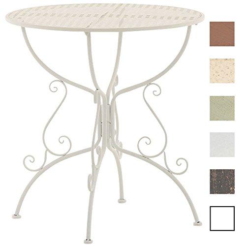 CLP Eisentisch AMANDA in nostalgischem Design | Robuster Gartentisch mit kunstvoll verzierten Tischbeinen | In verschiedenen Farben erhältlich Weiß