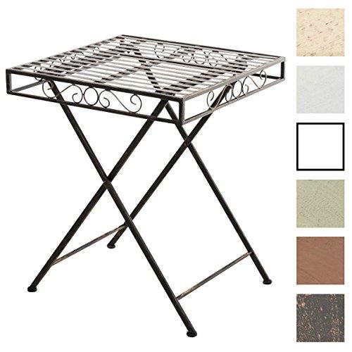 CLP Eisentisch FUNDA in nostalgischem Design | Robuster Gartentisch mit kunstvollen Verzierungen | Kompakter Tisch mit eckiger Tischplatte | In verschiedenen Farben erhältlich Bronze