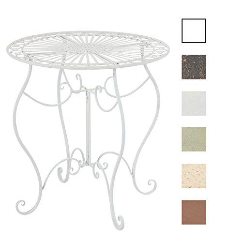 CLP Eisentisch INDRA in nostalgischem Design | Gartentisch mit geschwungenen Metallbeinen | In verschiedenen Farben erhältlich Weiß