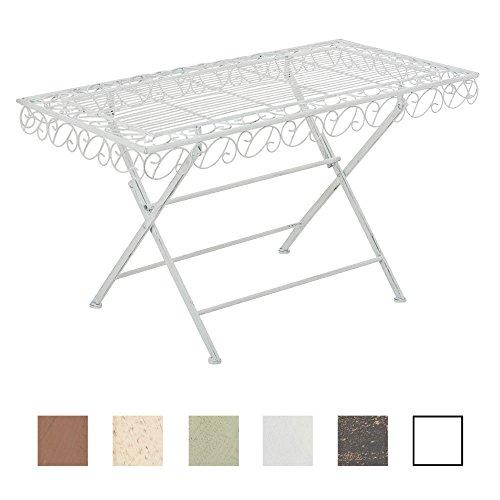 CLP Eisentisch JOSEFA in nostalgischem Design | Robuster Gartentisch mit kunstvollen Verzierungen | In verschiedenen Farben erhältlich Antik Weiß