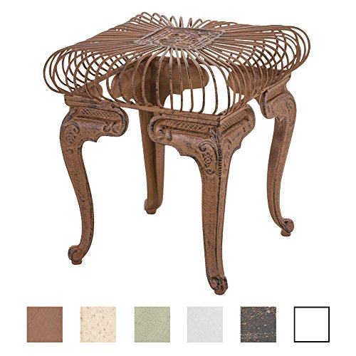 CLP Eisentisch Melle in nostalgischem Design | Robuster Gartentisch mit kunstvollen Verzierungen | In verschiedenen Farben erhältlich Antik Braun