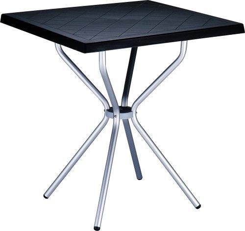 CLP Garten Bistro-Tisch SORTHIE, quadratisch 70 x 70 cm, Esstisch Höhe 72 cm, Kunststoff/Aluminium, wetterfest, 4 Personen, ideal für den Balkon & Camping Schwarz