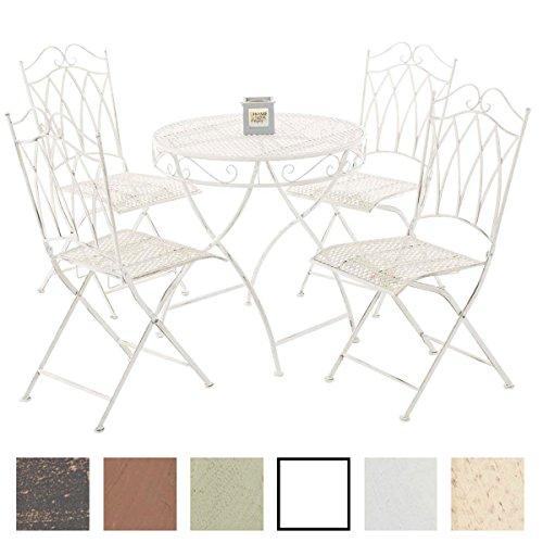 CLP Garten-Sitzgruppe LUNIS aus lackiertem Eisen | Garten-Set bestehend aus einem Eisentisch und vier Eisenstühlen | Antike Gartenmöbel im Jugendstil | In verschiedenen Farben erhältlich XXL: Tisch rund Ø 70 cm, 4 Stühle, Antik Weiß