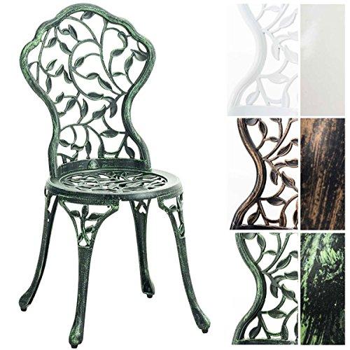 CLP Gartenstuhl GOYAL aus Aluminium-Guss, nostalgisches Design, witterungsbeständiger Bistrostuhl, rostfrei durch Pulverbeschichtung Antik Grün