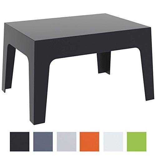 CLP Gartentisch BOX aus Kunststoff | Stapelbarer Beistelltisch mit einer Höhe von: 43 cm | Wetterfester Outdoor-Tisch | In verschiedenen Farben verfügbar Schwarz
