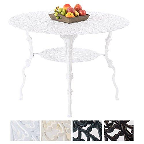 CLP Gartentisch rund RUDRA, ca. Ø 100 cm, Aluguss, Höhe 70 cm, Nostalgie Weiß