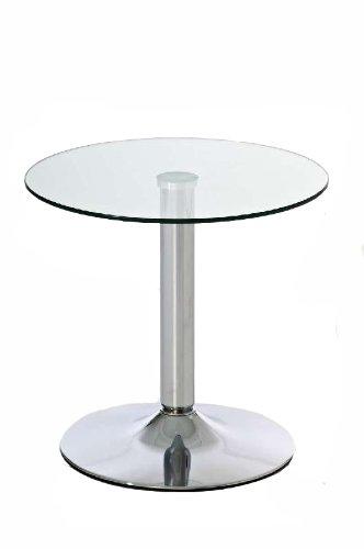CLP Glas-Beistelltisch IKARUS mit einer runden Tischplatte aus Sicherheitsglas | Stehtisch mit Metallgestell in Chrom-Optik | Durchmesser Ø 50 cm, Höhe 48 cm klarglas