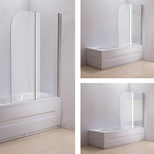 CLP NANO Duschabtrennung für die Badewanne | Faltbarer Badewannenaufsatz aus Sicherheisglas | 2 teilige Duschwand Klarglas/Milchglas - halbgefrostet, Anschlag: Links