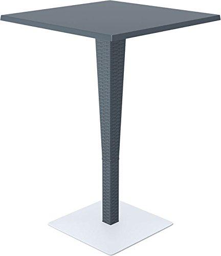 CLP Outdoor-Stehtisch RIVA aus Polyrattan | Wetterfester Gartentisch aus UV-beständigem Kunststoffgeflecht | Stehtisch mit eckiger Tischplatte | In verschiedenen Farben erhältlich Dunkelgrau