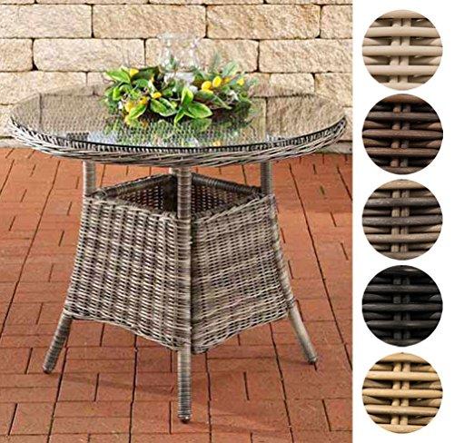 CLP Poly-Rattan Tisch FARSUND, Gartentisch rund Ø 90 cm, Höhe 74 cm, 4 Personen, 5 mm RUND Rattan, ALU-Gestell Schwarz